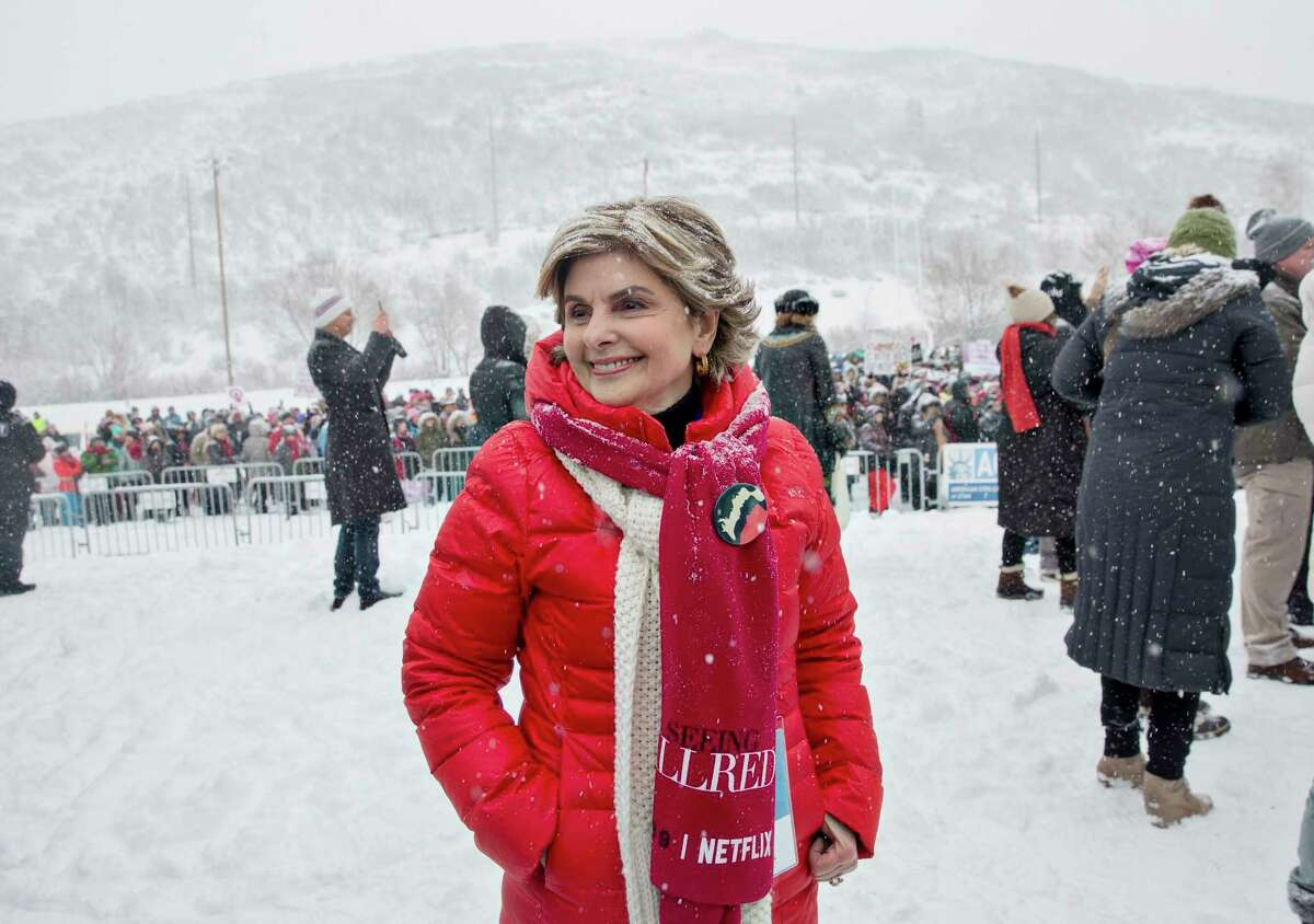 Gloria Allred, the feminist lawyer, after speaking at the Respect Rally Park City in Park City, Utah, during the Sundance Film Festival, Jan. 20, 2018. Harvey Weinstein helped put the Sundance Film Festival on the map, but organizers say this yearé?•s slate, which puts women front and center, shows the festival has moved on. (Kim Raff/The New York Times)