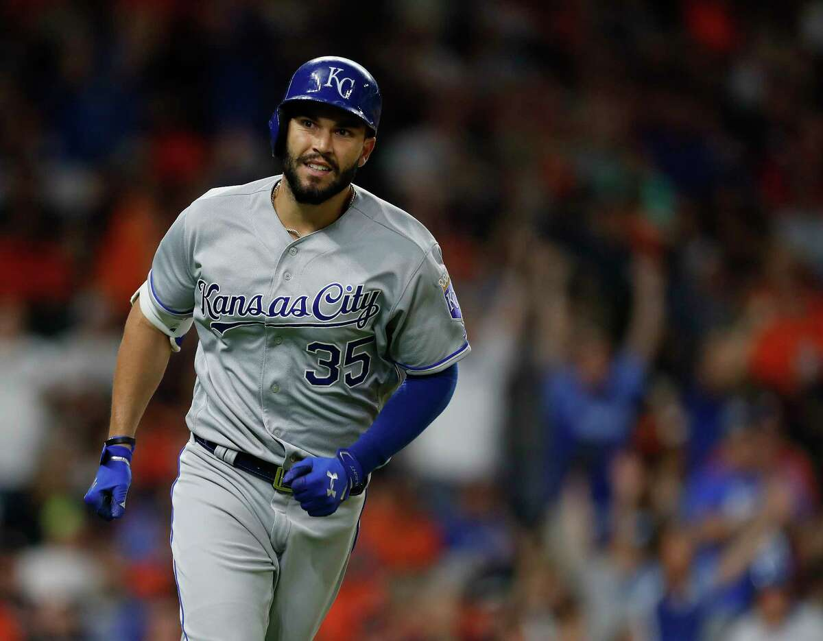 Kansas City Royals first baseman Eric Hosmer (35) smiles as he rounds the bases after his two-run home run off of Houston Astros relief pitcher Luke Gregerson during the eighth inning of an MLB baseball game at Minute Maid Park, Saturday, April 8, 2017, in Houston.