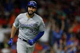 Kansas City Royals first baseman Eric Hosmer (35) smiles as he rounded the bases after his two-run home run off of Houston Astros relief pitcher Luke Gregerson during the eighth inning of an MLB baseball game at Minute Maid Park, Saturday, April 8, 2017, in Houston.