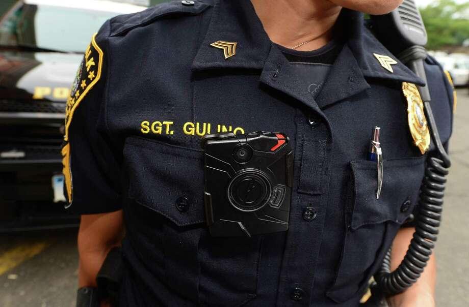 Norwalk police Sgt. Sofia Gulino wears a body camera during patrol in July 2015. Photo: Erik Trautmann / Hearst Connecticut Media / Norwalk Hour