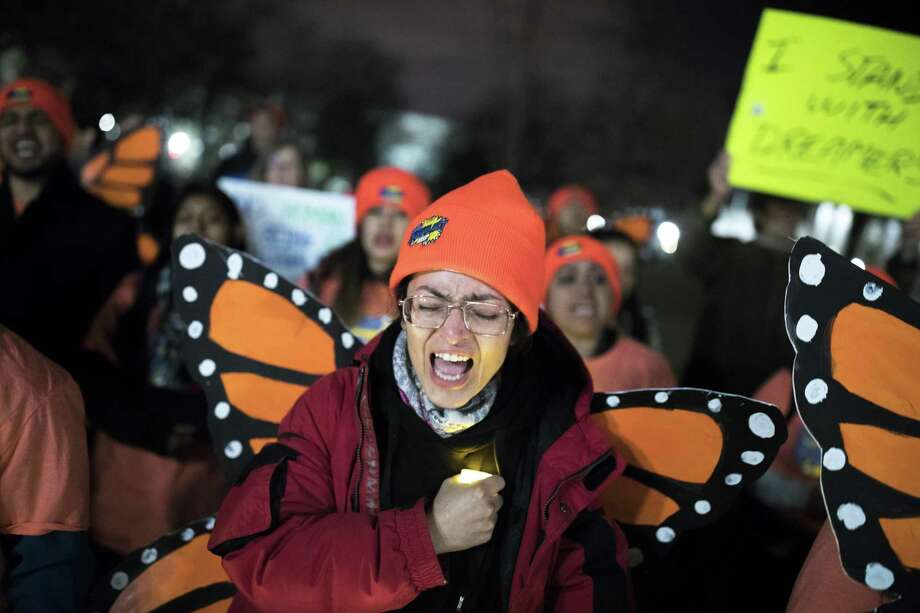 Demonstrators at a rally in support of the Dream Act on Capitol Hill on Sunday. Democrats had hoped the public would embrace the use of all possible methods, including a government shutdown, to come to the rescue of the young unauthorized immigrants known as the Dreamers. Photo: TOM BRENNER /NYT / NYTNS