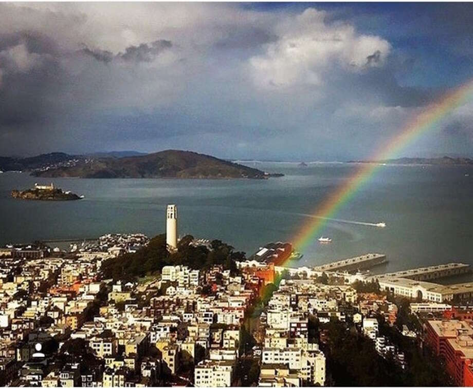 Rainbows appeared over the Bay Area on Thursday, Jan. 25, 2018. Photo: @tbmcan