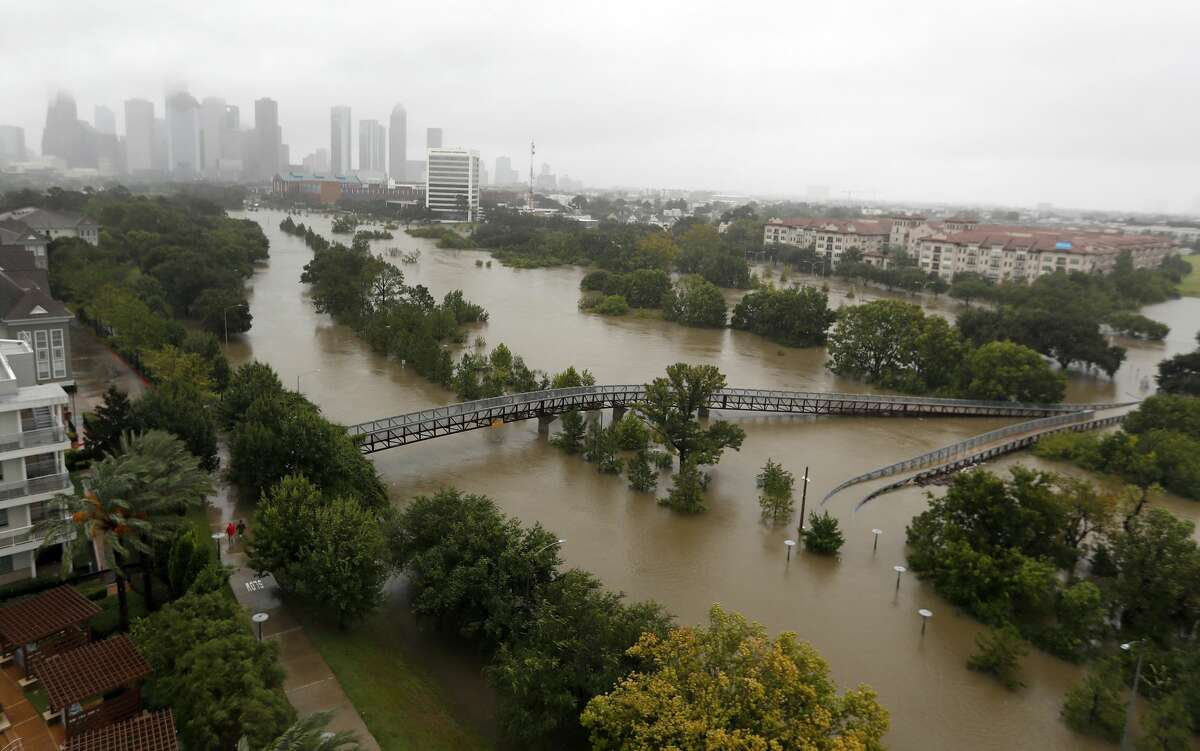 Floodwaters from Hurricane Harvey overwhelmed Buffalo Bayou along Memorial Drive and Allen Parkway, leaving bridges and roadways flooded on Monday, Aug. 28, 2017.