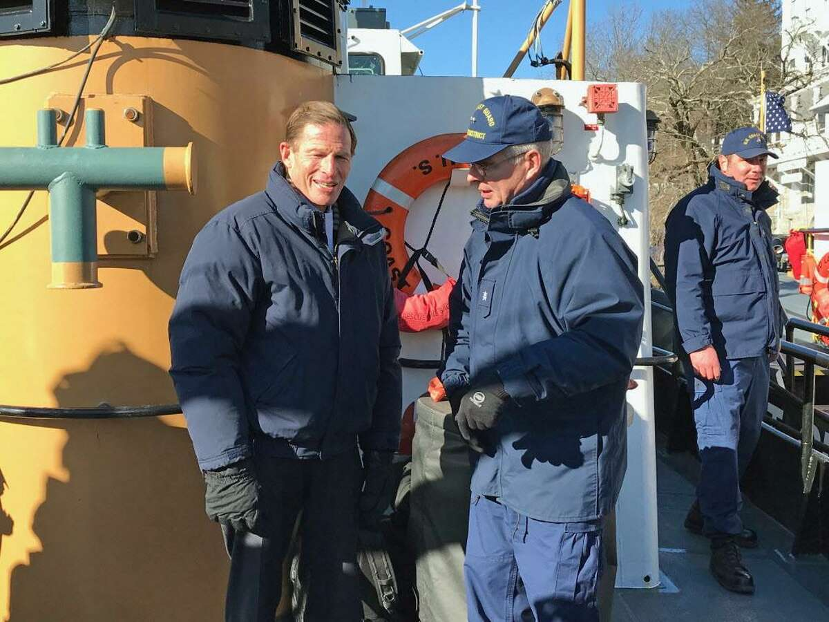 U.S. Sen. Richard Blumenthal speaks with U.S. Coast Guard Admiral Steve Poulin, commander of the First District, prior to heading out on the Cutter Pendant Thursday afternoon from Goodspeed Landing in East Haddam.