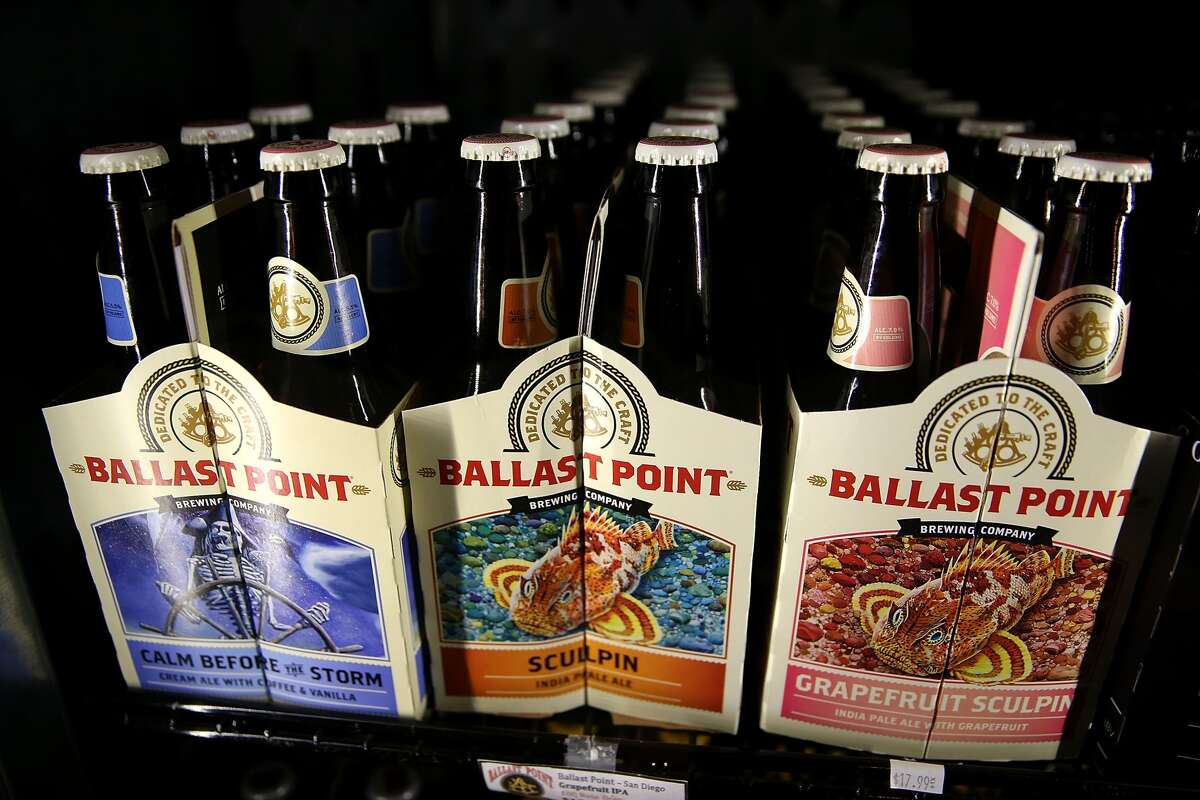 Bottles of Ballast Point beer sit on a shelf at Ales Unlimited on November 17, 2015 in San Francisco, California.
