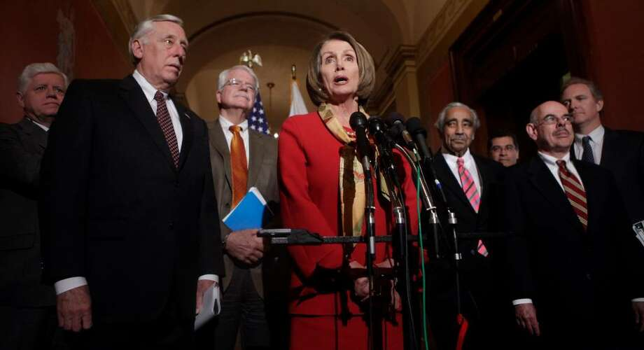 House Speaker Nancy Pelosi of Calif., center, speaks during a health care news conference on Capitol Hill in Washington, Tuesday, Jan. 5, 2010. From left are, Rep. John Larson, D-Conn., House Majority Leader Steny Hoyer of Md., Rep. George Miller, D-Calif., Pelosi, Rep. Charles Rangel, D-N.Y., Rep. Xavier Becerra, D-Calif., Rep. Henry Waxman, D-Calif., and Rep. Chris Van Hollen, D-Md. (AP Photo/Pablo Martinez Monsivais) Photo: Pablo Martinez Monsivais / AP