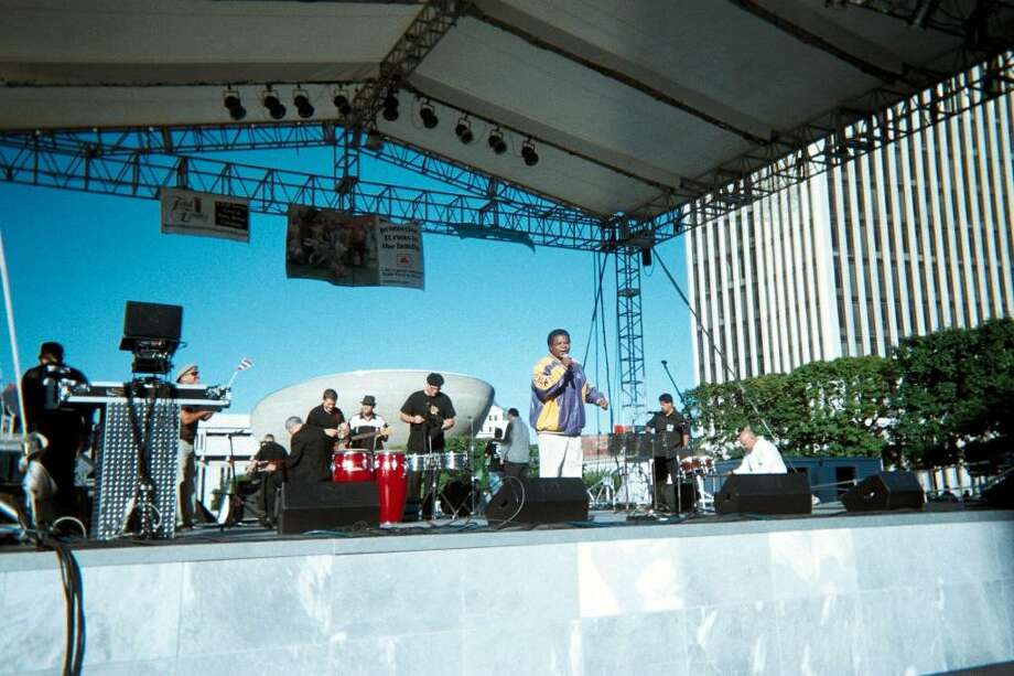 """Donald """"The Soulman"""" Hyman performing during Hispanic Heritage Month at the Empire State Plaza (photo/Donald Hyman)."""