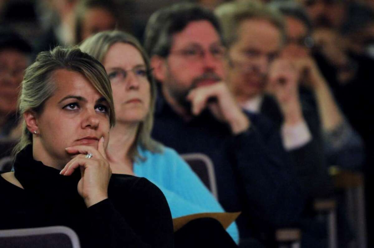 Sarah Samyn of Selkirk looks on at the DEC hearing on the Lafarge permit. (Luanne M. Ferris / Times Union)