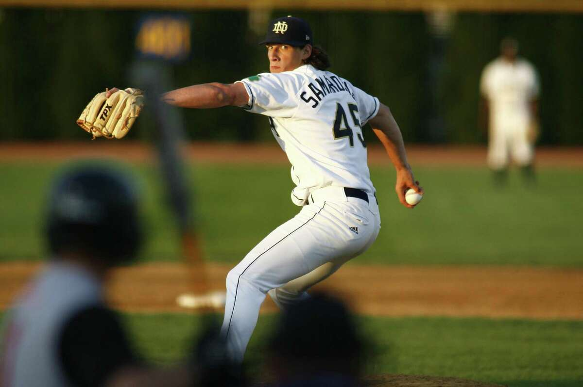Notre Dame pitcher and star wide receiver Jeff Samardzija during the Notre Dame Fighting Irish 11-5 victory over the Rutgers Scarlet Knights at Frank Eck Stadium in South Bend, Indiana. Samardzija moved his record to 6-1, pitching 7 and a third innings, allowing 3 earned runs and striking out 6. (Photo by Andy Altenburger /Icon SMI/Icon Sport Media via Getty Images)