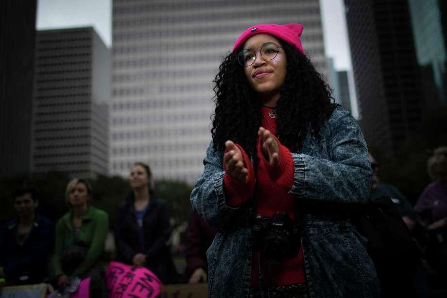 Alesandra Fullerton, 21, at the Houston Women's March, Saturday, Jan. 20, 2018, in Houston. ( Marie D. De Jesus / Houston Chronicle ) Photo: Marie D. De Jesus, Houston Chronicle / © 2018 Houston Chronicle