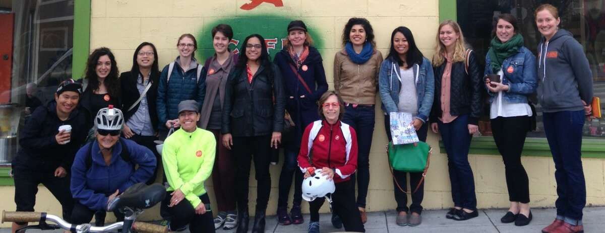 Members of the Women Bike SF Coffee Club, held on the first Friday of each month at various locations across the city.