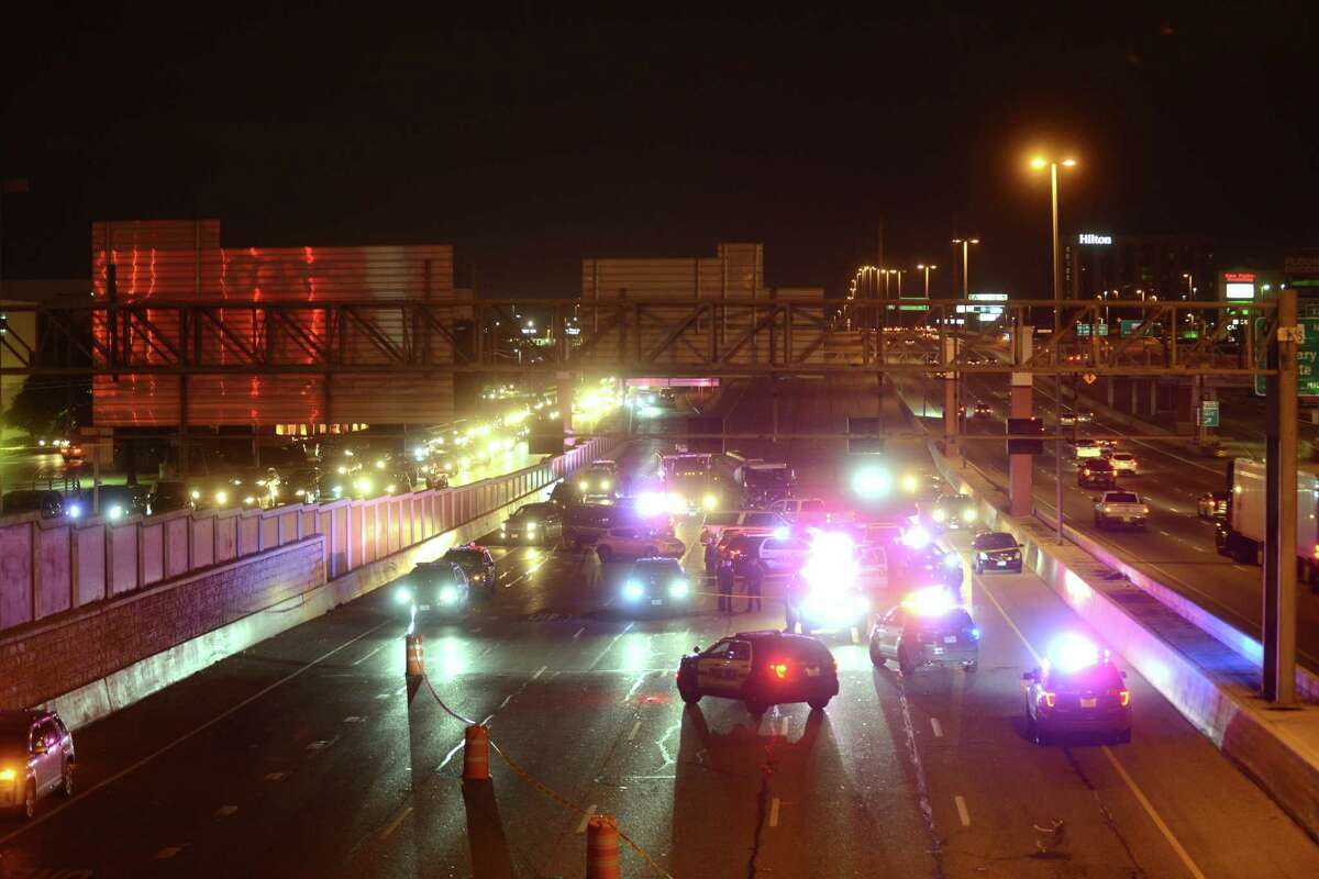 Loop 410 East is shut down at McCullough after a man was shot by police on Thursday night, Jan. 25, 2018.