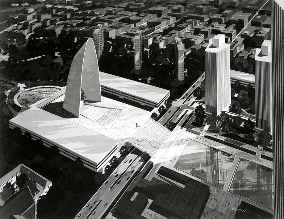 The proposed Freedom Arch on the Empire State Plaza (the New York State Museum / nysm.nysed.gov)
