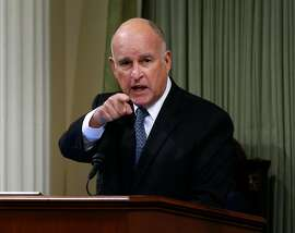 Gov. Jerry Brown delivers his final State of the State address in Sacramento, Calif. on Thursday, Jan. 25, 2018.