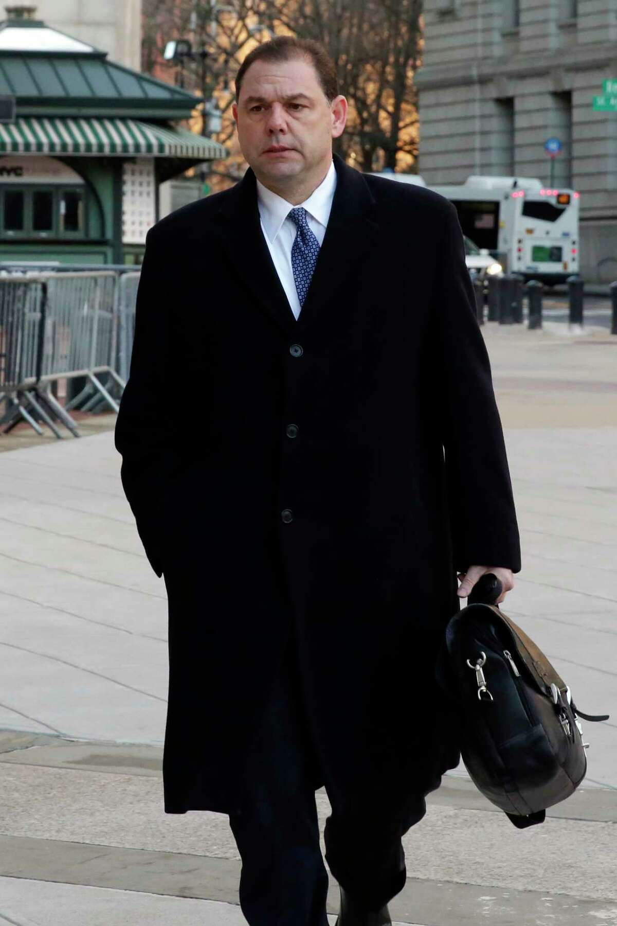 Joseph Percoco arrives at Federal Court, in New York, Thursday, Jan. 25, 2018. Percoco is on trial on charges that he accepted over $300,000 in bribes, most of it in the form of a job for his wife, in return for help he provided three businessmen who are co-defendants with him. (AP Photo/Richard Drew)