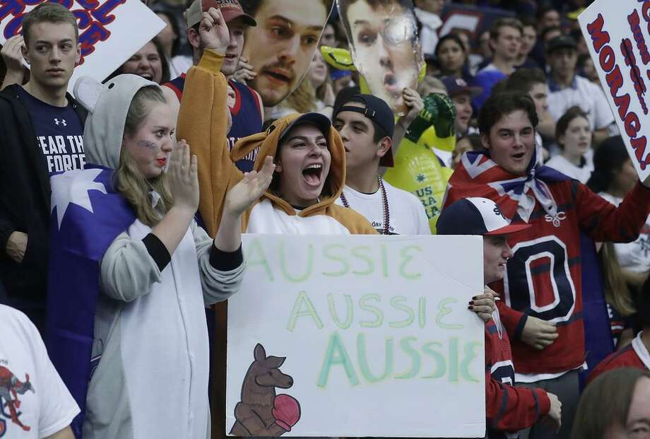 St. Mary's fans dressed as a koala and a kangaroo to honor the players from Australia cheer before the Gaels take down the Cougars. Photo: Jeff Chiu / Jeff Chiu / Associated Press / Copyright 2018 The Associated Press. All rights reserved.