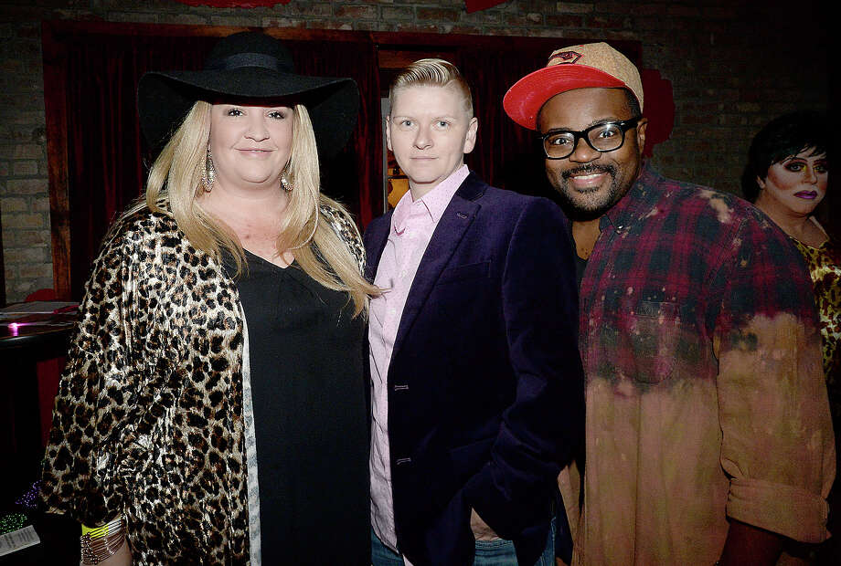Brooke Dillon, Amie McNatty and John Gray were at Pride Fest Season Kickoff event Thursday night at the Red Room Lounge on Crockett Street. This year's Pride Fest activities are organized by PFLAG Beaumont. Thursday's kickoff event included performances by renowned area drag performers, cocktails and DJ Sazzie Love. Photo taken Thursday, January 25, 2018 Kim Brent/The Enterprise Photo: Kim Brent / BEN