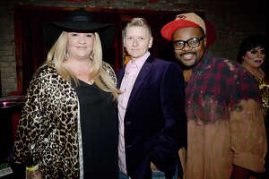 Brooke Dillon, Amie McNatty and John Gray were at Pride Fest Season Kickoff event Thursday night at the Red Room Lounge on Crockett Street. This year's Pride Fest activities are organized by PFLAG Beaumont. Thursday's kickoff event included performances by renowned area drag performers, cocktails and DJ Sazzie Love. Photo taken Thursday, January 25, 2018 Kim Brent/The Enterprise