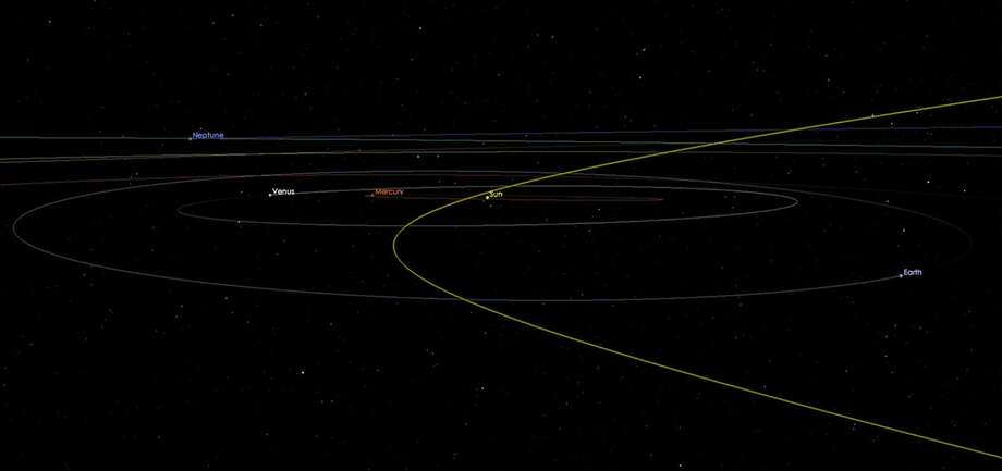 """NASA reports asteroid 2002 AJ1299 is scheduled to pass near the Earth on Feb. 4, 2018, right before the Super Bowl. NASA identifies it as a """"potentially hazardous asteroid,"""" however, it is not expected to collide with Earth.Scroll ahead to see vintage photos of NASA. Photo: NASA"""