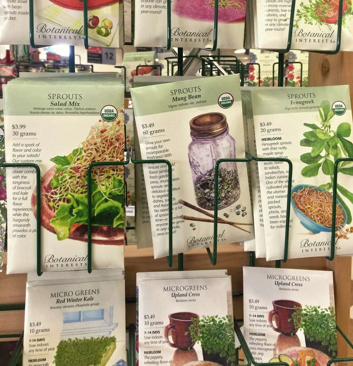 The front of the seed packets are designed to show how the seeds will look when they mature.