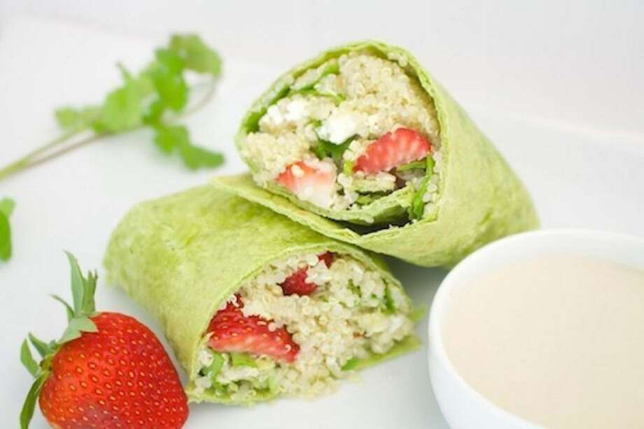 Tanji is a fan of the Lone Star Farmers Market's Strawberry Quinoa Salad wraps, made with maple tahini dressing and feta cheese.