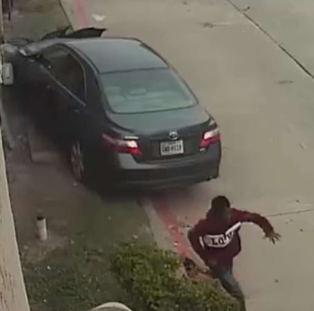 Houston police are searching for four young suspects who allegedly carjacked a pregnant woman, then later crashed her car at an apartment complex before fleeing the scene. The carjacking occurred on Dec. 14, 2017, and the crash depicted in these surveillance images occurred the next day, police said.