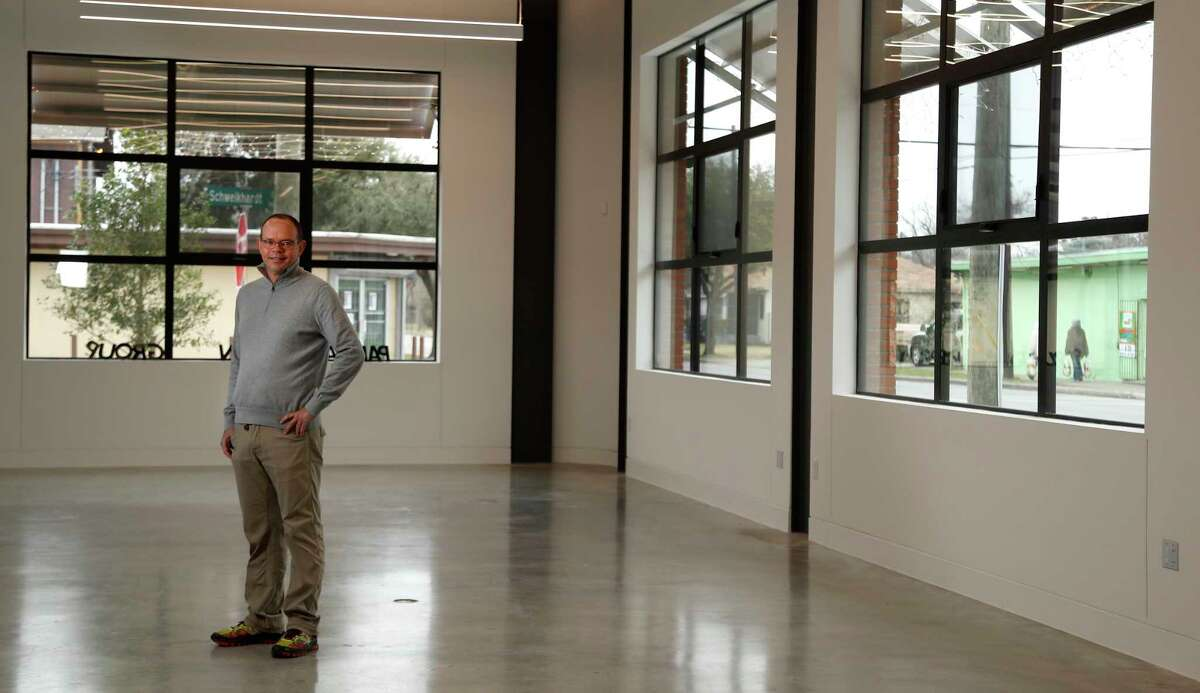 Camilo Parra, of Parra Design Group, in their new building at 4619 Lyons Avenue, Tuesday, Jan. 9, 2018, in Houston. Parra Design Group, a 20-year old architectural firm, has opened their headquarters in Houston's Fifth Ward. The new two-story building offers its neighbors open space on the first-floor level for meetings and other activities. The building's presence contributes to the redevelopment of Lyons Avenue and adds to vibrancy of the Fifth Ward. ( Karen Warren / Houston Chronicle )