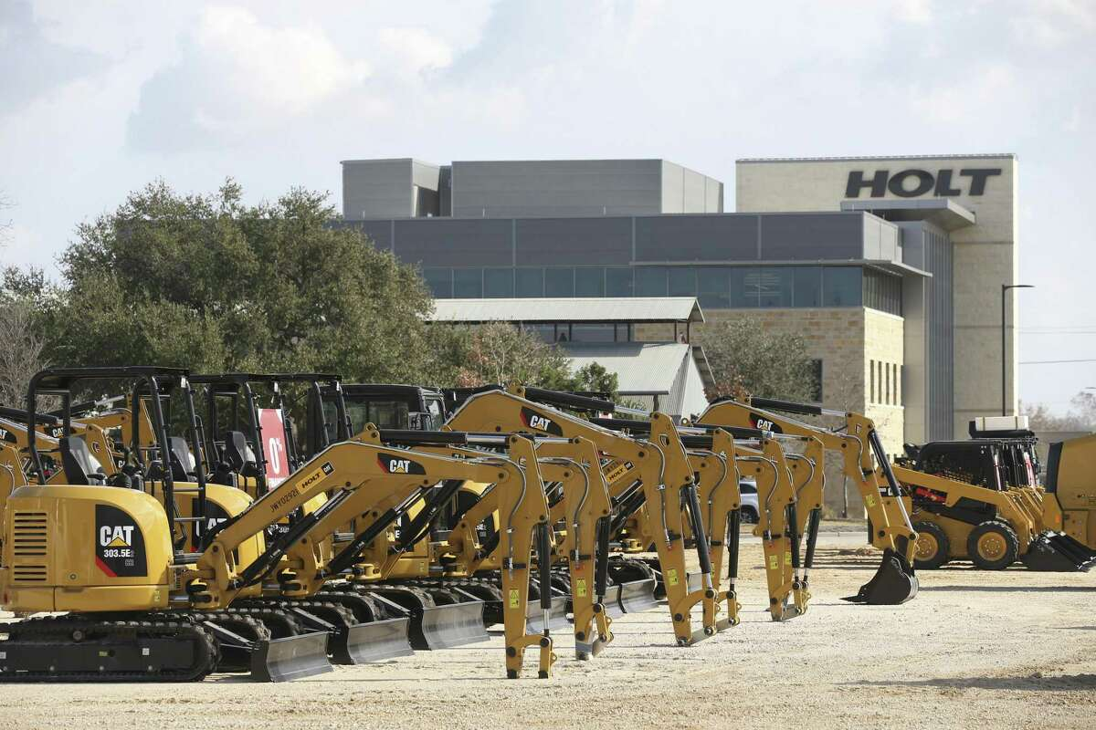 Caterpillar machines line a lot at Holt Cat's San Antonio headquarters complex. The company said optimism has been voiced by companies it does business with.