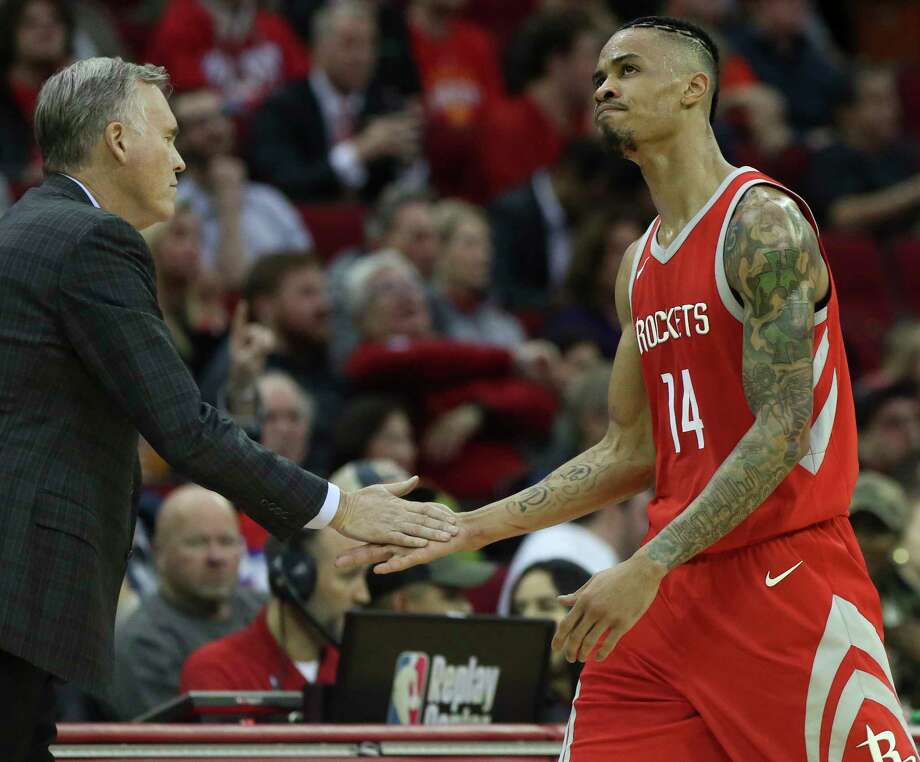 Houston Rockets guard Gerald Green (14) high-fives head coach Mike D'Antoni as he is leaving the game during the fourth quarter of the NBA game against the Portland Trail Blazers at Toyota Center on Wednesday, Jan. 10, 2018, in Houston. The Houston Rockets defeated the Portland Trail Blazers 121-112. ( Yi-Chin Lee / Houston Chronicle ) Photo: Yi-Chin Lee, Houston Chronicle / © 2018  Houston Chronicle