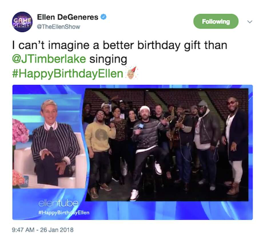 Celebrities celebrate Ellen DeGeneres' 60th birthday. Photo: Twitter/ Screengrab