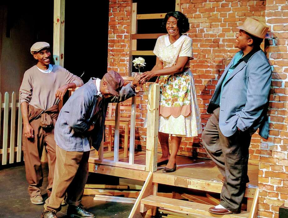"Kevin Knight, left, Dan Fedrick, Tracey McAllister and Steffon Sampson in a scene from ""Fences"" on stage at Ridgefield Theater Barn, Feb. 2-24. Photo: Paulette Layton / Contributed Photo"