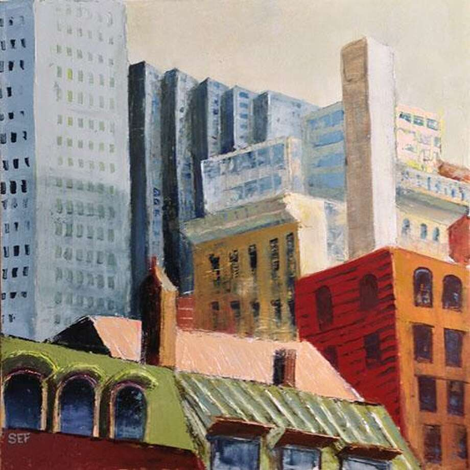 """An exhibit of work by Susan Fehlinger is on view at Westport Library's Great Hall through Feb. 23. Above is """"View from MoMA,"""" New York. Photo: Susan Fehlinger / Contributed Photo"""