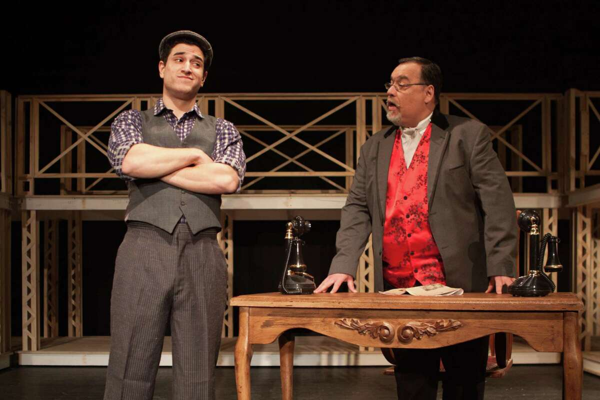 Jack Kelly (Chris Balestriere), left, and Joseph Pulitzer (Stephen DiRocco) appear in Curtain Call's production of