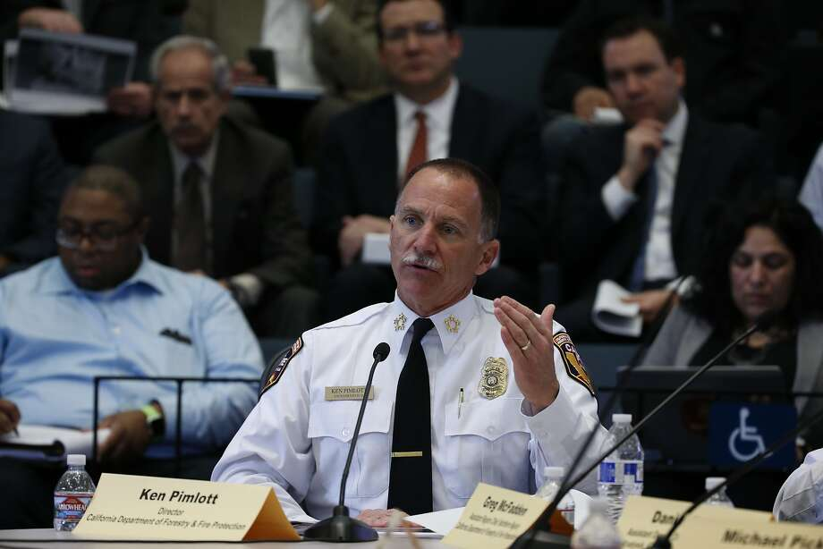Cal Fire director Ken Pimlott addresses a state Senate subcommittee meeting on how utilities can help prevent fires. Photo: Paul Chinn, The Chronicle
