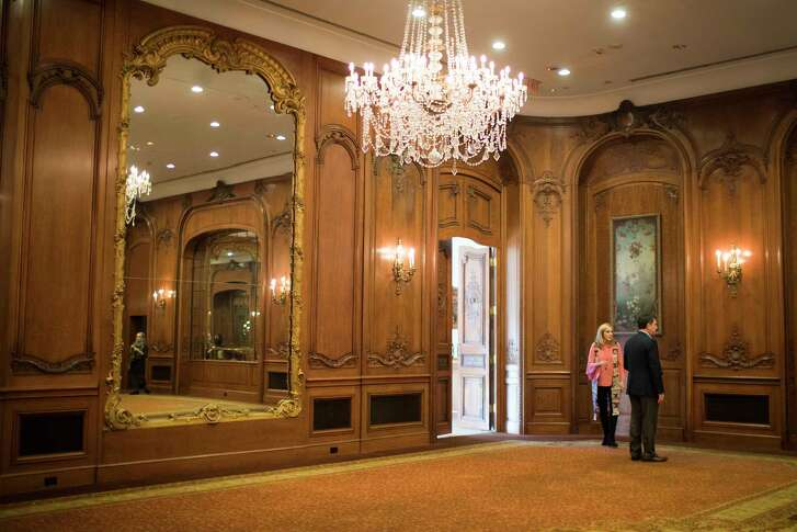 Mark Clegg, Hines Vice President for corporate communications and public relations and Kitty Wilbanks, the La Colombe d'Or Hotel director of catering walk the hotel's ballroom, Wednesday, Jan. 24, 2018, in Houston. The ballroom, which was an addition, will be demolished to make way for a new 34-story residential tower. ( Marie D. De Jesus / Houston Chronicle )