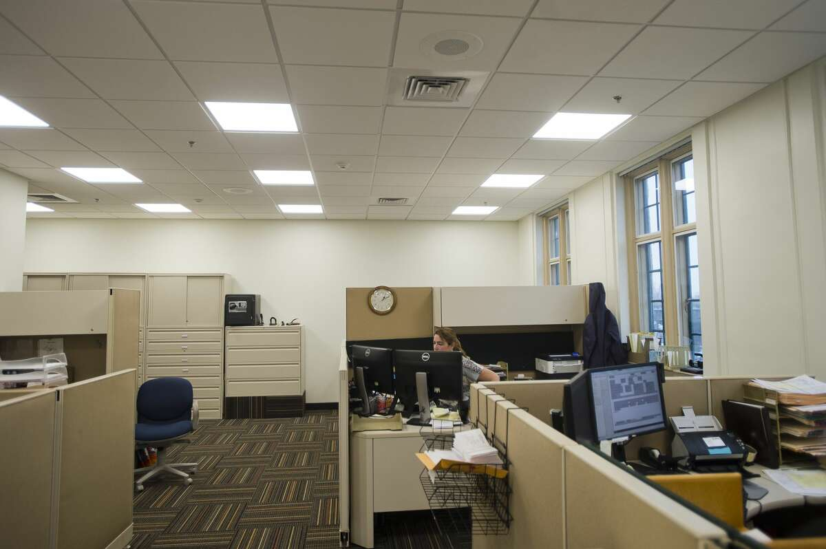 Staff are back to work on the district court floor of the Midland County Courthouse after renovations were completed. The renovations include locked doors at courtroom entrances and new glass windows separating clerks from the public, among other features. (Katy Kildee/kkildee@mdn.net)