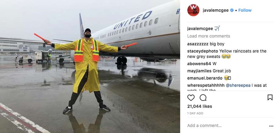 JaVale McGee and Nick Young try their hand at air traffic control with United Airlines at SFO. Photo: Screenshot Via Instagram