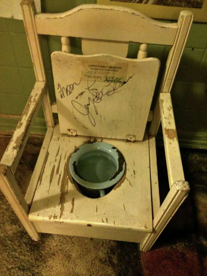 The toddler toilet used by Jerry Lee Lewis remains at the childhood home and museum run by his sister Frankie Jean Lewis Terrell. Photo: Andrew Dansby