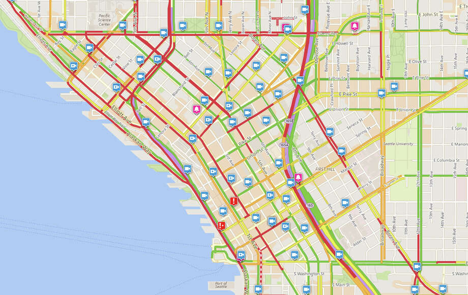 A Thursday crash on the Alaskan Way Viaduct snarled Seattle traffic. This Seattle Department of Transportation map captured at 4:10 p.m. shows downtown streets gridlocked. Photo: SDOT