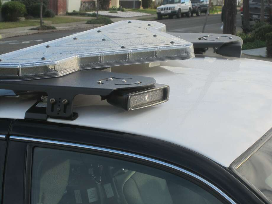 Examples of a license-reader attached to a San Leandro Police Department patrol car. Photo: Mike Katz-Lacabe, CIR