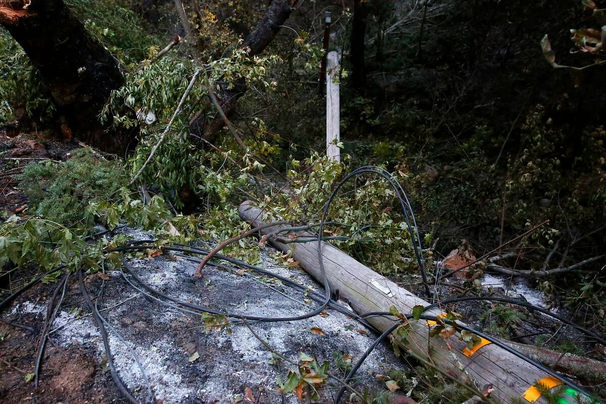 A fallen power pole along Nuns Canyon rd. in Glen Ellen, Ca. as seen on Tuesday October 17, 2017.