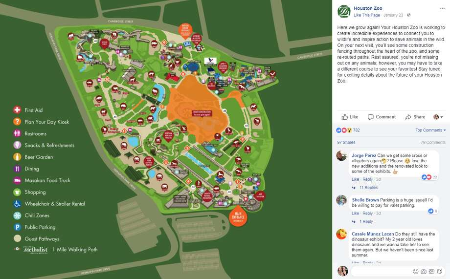 The Houston Zoo is under construction according to a Facebook post shared on Jan. 23. Photo: Houston Zoo Facebook