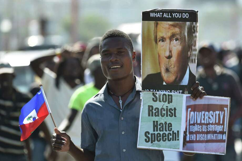 Demonstrators march in Port-au-Prince, Haiti, protesting the alleged disparaging comments made by President Donald Trump against Haiti and African countries. A reader blasts Trump for his vulgarity and lack of leadership skills. Photo: HECTOR RETAMAL /AFP /Getty Images / AFP or licensors