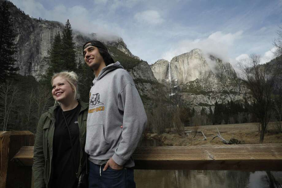 Michael and Shannon Leon of Modesto made the drive to Yosemite National Park on Monday after hearing that the entrance fee wasn't being collected during the shutdown. Yes, the shutdown was due to Democratic — not Republican — brinkmanship. Photo: Michael Macor /The Chronicle / ONLINE_YES