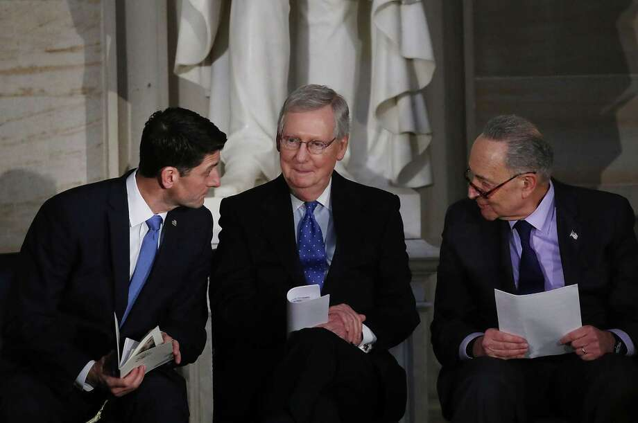 The guy on the far right, Senate Minority Leader Charles Schumer, D-N.Y., is getting much of the blame, but the true architects of the shutdown are House Speaker Paul Ryan, R-WI, and Senate Majority Leader Mitch McConnell, R-KY. They control the congressional agenda. Photo: Mark Wilson /Getty Images / 2018 Getty Images