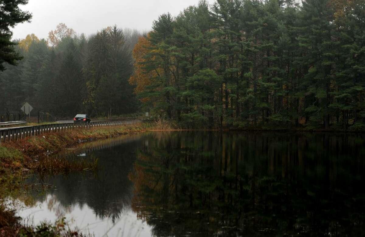 The Hemlock Reservoir was full after recent heavy rain storms in Easton in November.