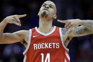 Houston Rockets guard Gerald Green (14) reacts after making a three point shot against the Portland Trail Blazers in the second half of an NBA basketball game Wednesday, Jan. 10, 2018, in Houston. (AP Photo/Michael Wyke)