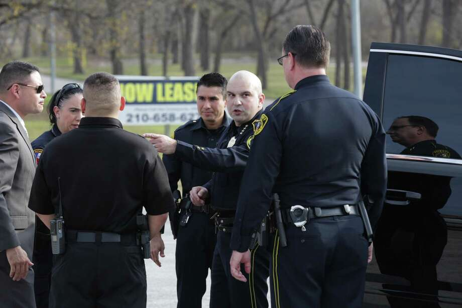 Bexar County Sheriff Javier Salazar gives direction to deputies near the scene of an officer involved shooting on Thursday , Dec. 21, 2017 where officers killed a 30 year old female suspect who fled.  A 10-year-old boy  was also shot in Pecan Grove Trailer Park in Schertz, Texas, and is at an area hospital in critical condition. Photo: Bob Owen, Staff / San Antonio Express-News / San Antonio Express-News