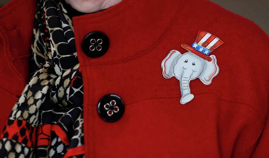 A woman wears an elephant pin while attending the Montgomery County Republican Women's meeting at the River Plantation Country Club, Thursday, Jan. 25, 2018, in Conroe. A look at what Trump voters in Montgomery County   think of Trump a year into his presidency. Photo: Karen Warren, Houston Chronicle / © 2018 Houston Chronicle