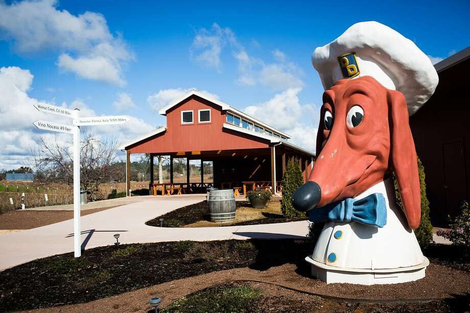 One of the famous Doggie Diner heads stands watch outside Vino Noceto winery in Plymouth. Photo: Max Whittaker/Prime, Special To The Chronicle